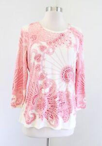 J-McLaughlin-Cream-Beige-Red-Geometric-Print-Catalina-Cloth-Top-Blouse-Size-L