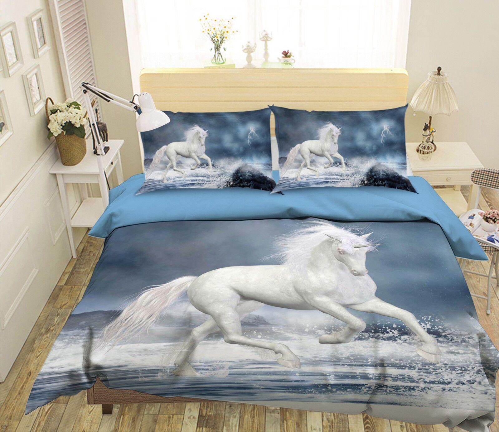 3D Blitz Ozean Einhorn 56 Bett Kissenbezüge steppen Duvet Decken Set Single DE