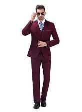 Burgundy Slim Fit Men's  Suits Formal Casual Wedding Dress Jacket Coat+ Pant Set