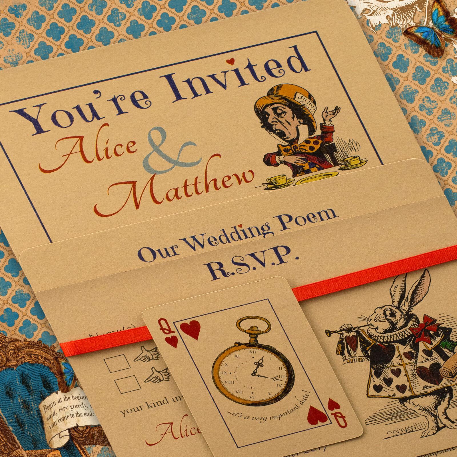 VINTAGE personalizzato Alice nel paese delle meraviglie inviti inviti inviti di nozze, Inc BUSTE Buff d45731