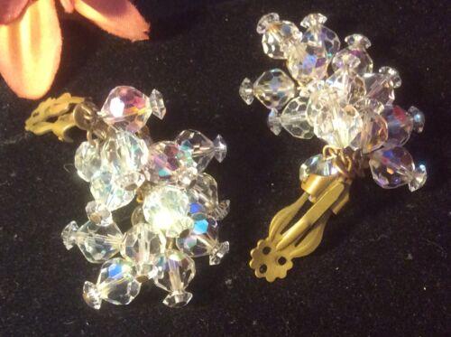 Vintage Estate Aurora Borealis AB Crystal and Pearl Art Deco Earrings