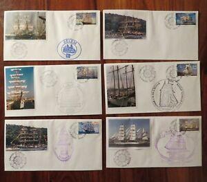 ROUEN-Armada-du-Siecle-Lot-6-enveloppes-Cachets-Ecole-Navale-Portugal-Venezuela