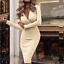 Women-V-Neck-Midi-Dress-Autumn-Winter-Long-Sleeve-Knit-Bodycon-Sweater-Jumper thumbnail 6