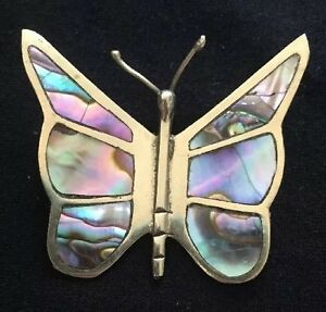 b1d6ed2c784a2 Details about Vintage Sterling Silver Mother of Pearl Abalone Butterfly Pin  / Brooch Mexico