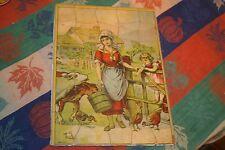VINTAGE ANTIQUE MOTHER AND DAUGHTER FEEDING ANIMALS INLAID  PUZZLE
