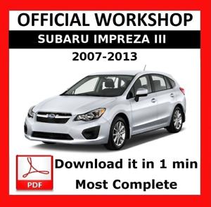 official workshop manual service repair subaru impreza xv 2007 rh ebay co uk 2017 WRX wrx 2013 service manual
