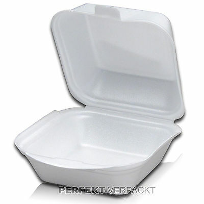 500 Hamburgerboxen 13,5x12,5x7cm weiß Hamburgerschalen Menüschalen Snackbox