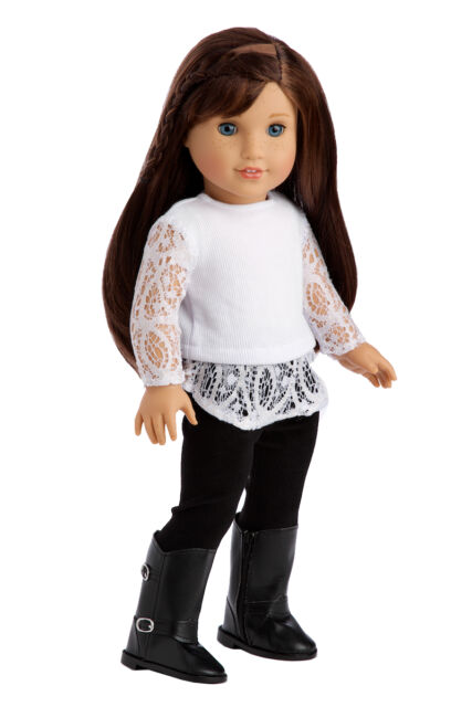 Just Fun - Doll Clothes for 18 inch American Girl, Blouse Leggings Black Boots