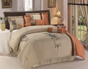 Chezmoi-Collection-7p-Bordado-Floral-Ropa-de-cama-conjunto-de-edredon-o-conjunto-de-cortina-de-4p