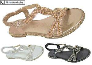 Flat-Open-Toe-Sandals-Elastic-Strap-Sequin-Diamante-Edge-Summer-Shoe-Size-Womens