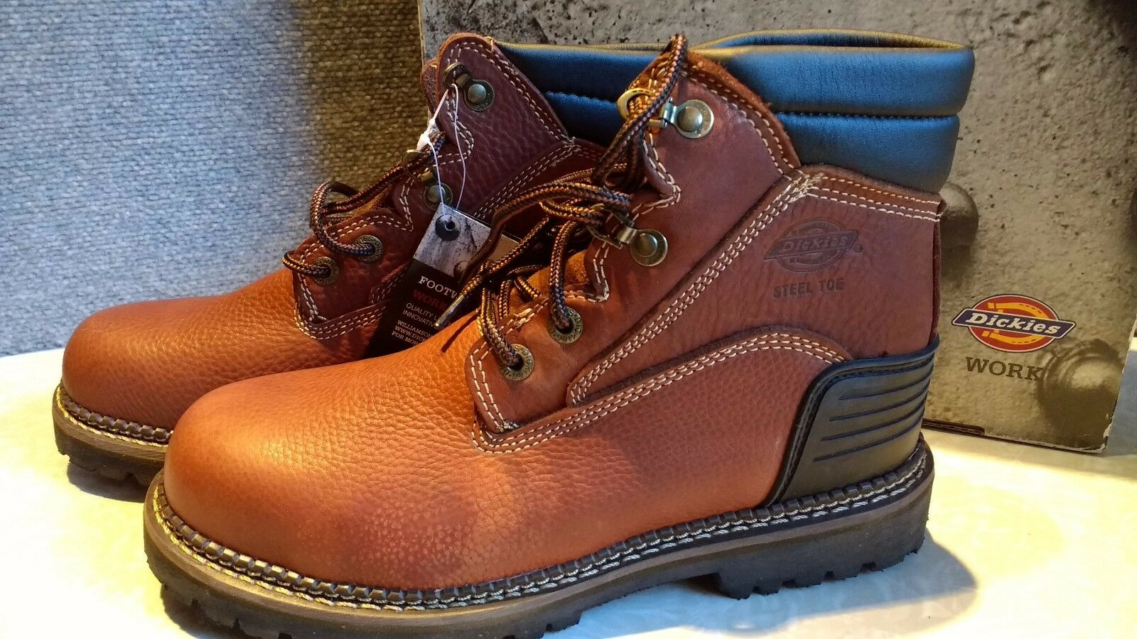 NIB,  90. MSRP, Mens Dickies Leather Heritage Steel Toe Work Safety Ankle Boots