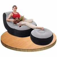 Inflatable Large Gaming Chair Ultra Lounge With Ottoman Adult Comfortable