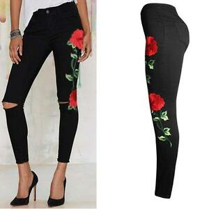 Women-Knee-Rip-Embroidered-Flower-Skinny-Stretch-High-Waist-Jeans-Pencil-Trouser