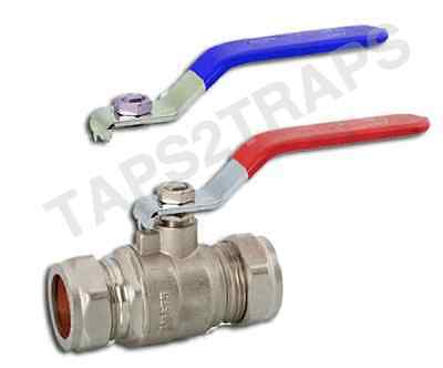 28MM DUAL LEVER BALL VALVE RED /& BLUE HANDLE COMPRESSION FULL BORE TOP QUALITY