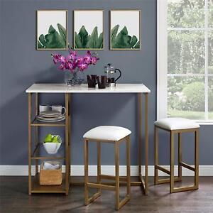Details About Pub Table Set 3 Piece Faux Marble Top Dining Kitchen Wood Metal Gl Shelves