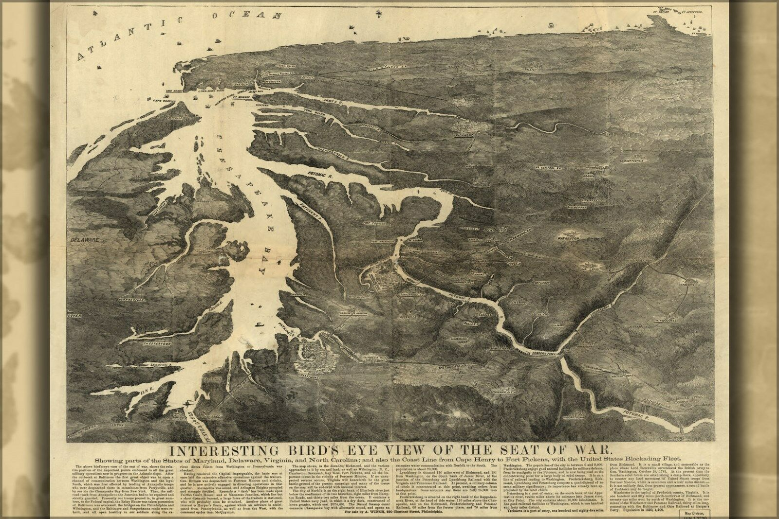 Plakat, Viele Größen; Map Seat Of War Maryland Delaware Virginia 1861