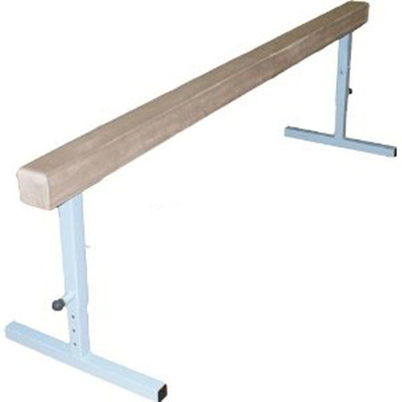 12 ft Tan Suede Gymnastics Balance Beam with 30  Adjustable Raised Metal Legs