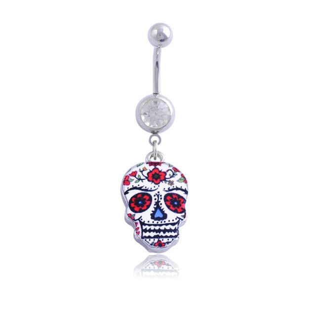 Creative Painted Skull Navel Belly Button Ring Bar Body Piercing Dangle Rin WKZO