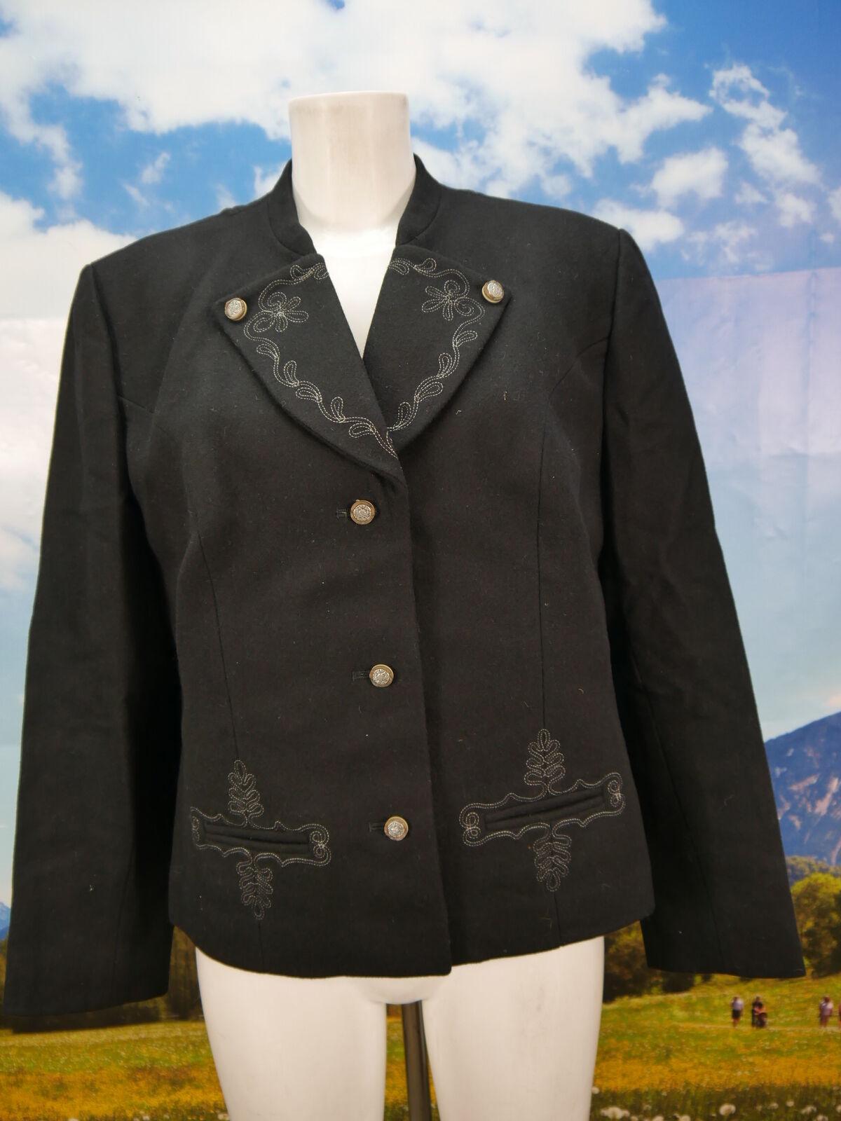 Echt Vintage dicker Loden Blazer Stickerei Jacke schwarz Trachtenjacke Gr.44