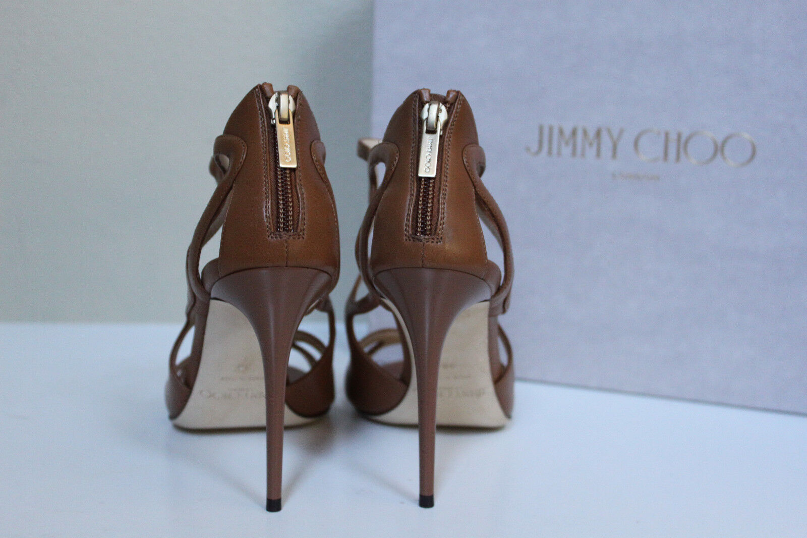 New sz 9.5     39.5 Jimmy Choo Leslie Curvy Caged Brown Leather Ankle Sandal shoes 4aafa1