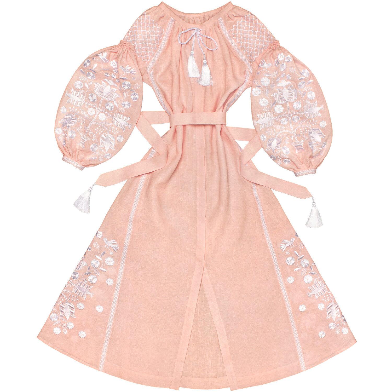 Ukrainian embroidered light pink dress boho - folk ethnic vyshyvanka. All sizes