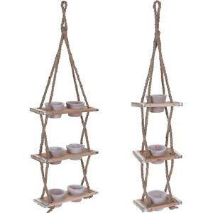 3 Tier Wooden Plant Hanging Indoor Outdoor Flower Pots Holder Baskets On Ropes