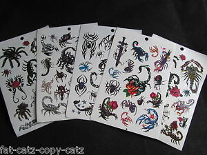 5-SHEETS-BOYS-SCARY-SCORPION-INSECT-SPIDER-TEMPORARY-TATTOOS-PARTY-LOOT-BAG-UK