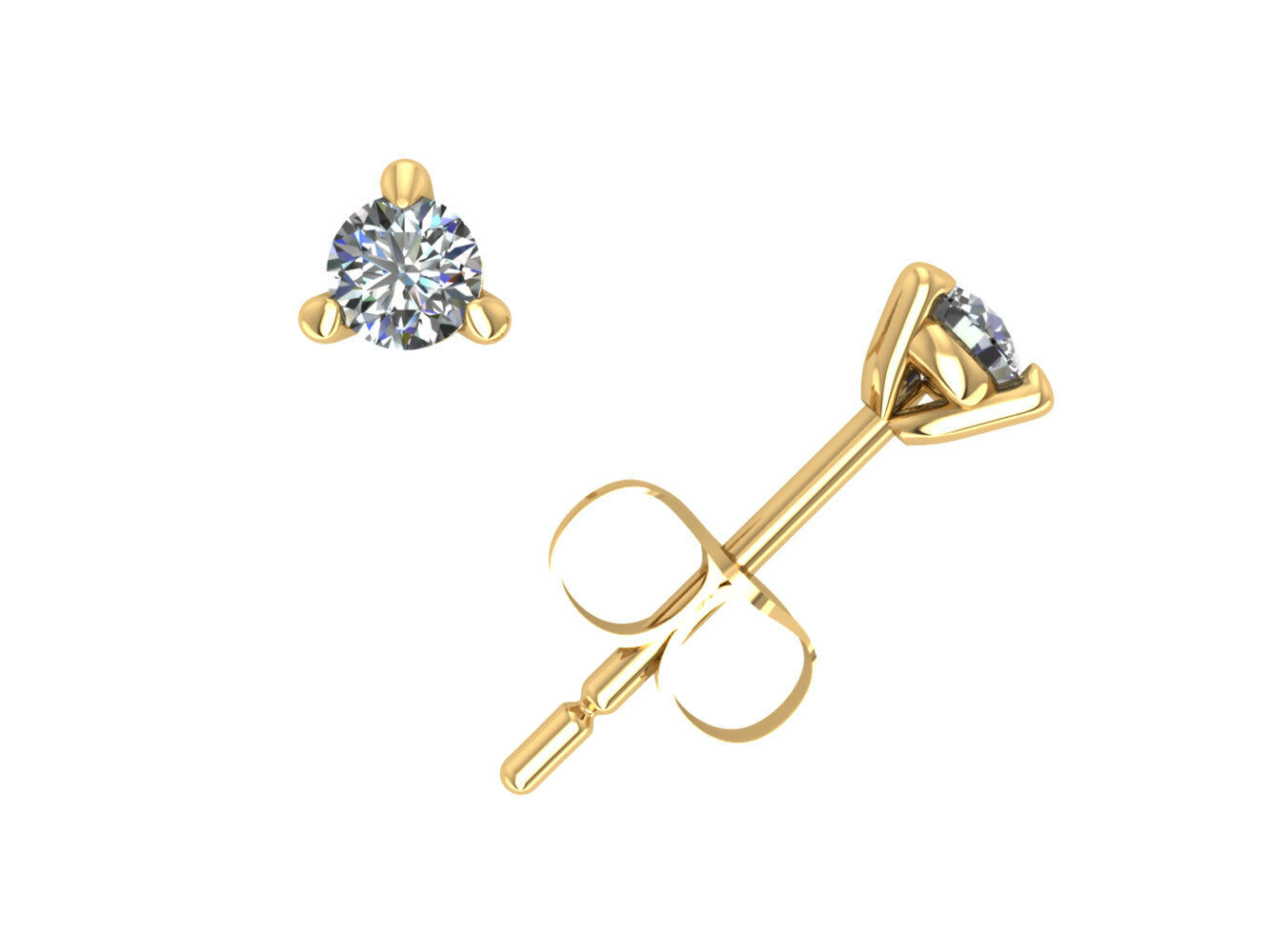 0.20Ct Round Cut Diamond Martini Stud Earrings 14k Yellow gold Prong Set F VS2