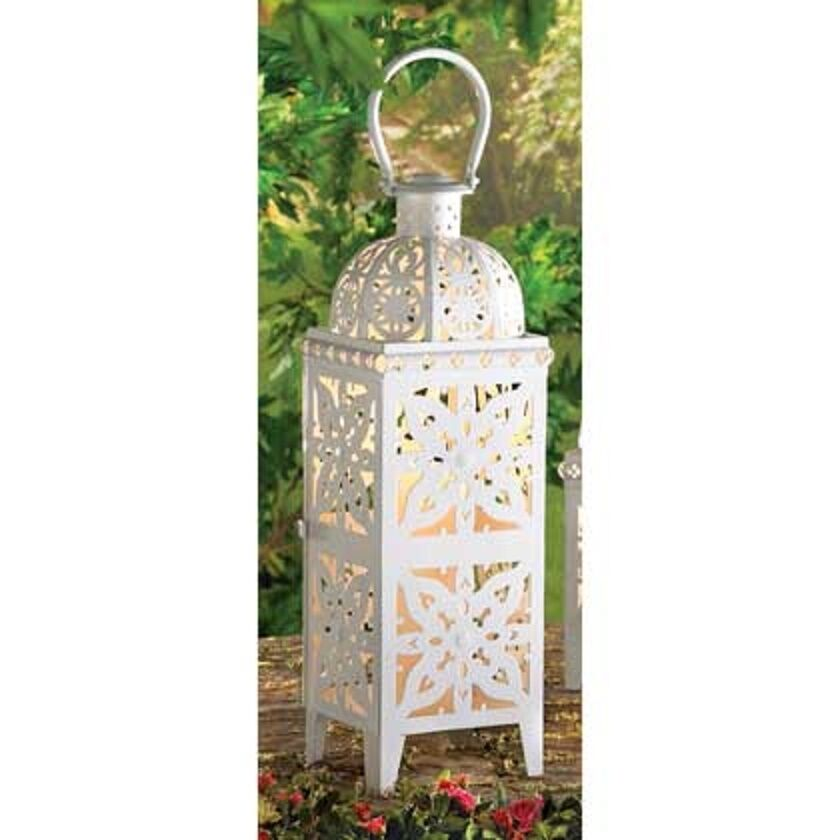 Large 25  tall WHITE Mgoldccan Candle holder Lantern Lamp outdoor patio garden