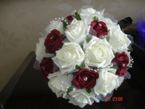 "BRIDESMAID BOUQUET BURGUNDY /& IVORY BEAUTIFUL /& ELEGANT 8/"""
