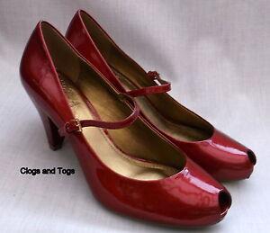 charol Nuevo de de mujer Flower Belle toe peep rojo Clarks para zapatos qO1v7q