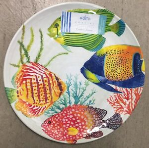 Image is loading Coastal-Collection-Tropical-Fish-MELAMINE-Dinner-Plates -Set- : nautical dinner plates - pezcame.com