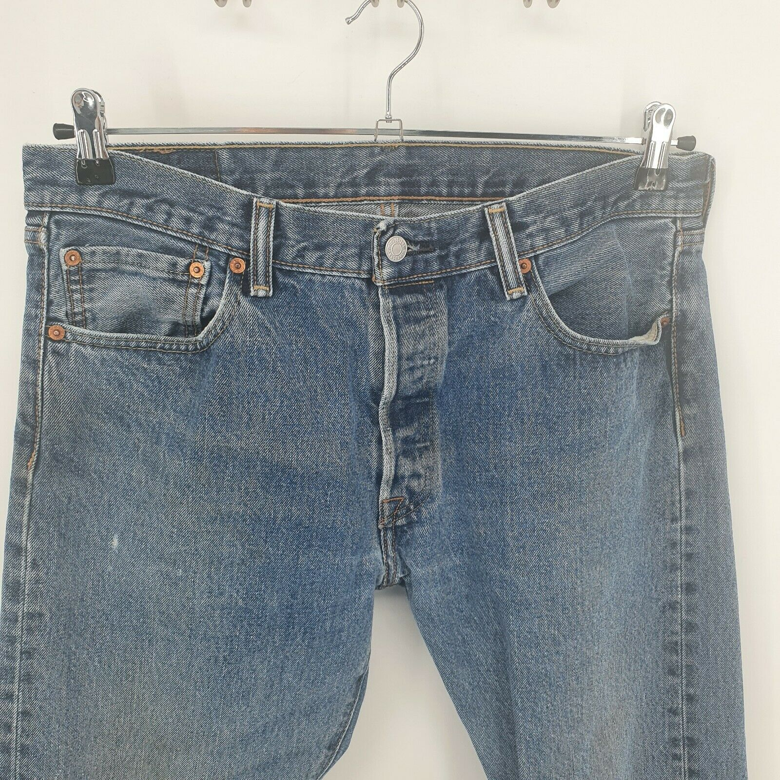 Levis 501 Distressed Jeans Button Fly Light Wash… - image 5