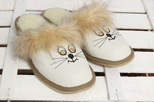 Warme-Damen-Hausschuhe-Katze-Wolle-Pantoffel-Gr-37-41-3-4067