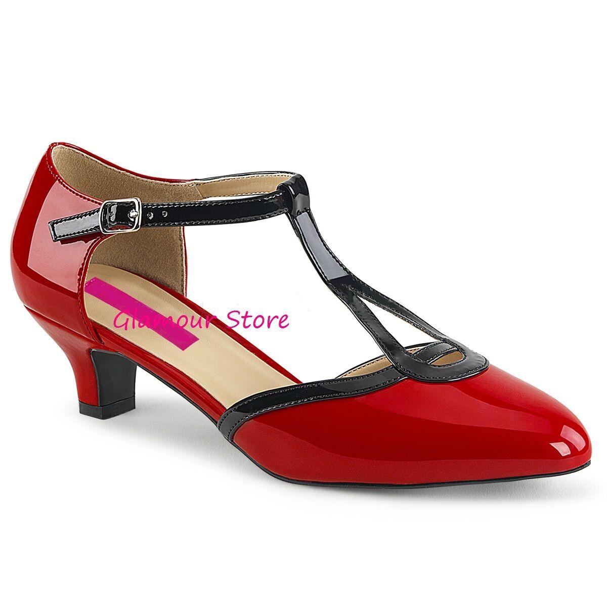 Sexy DECOLTE' tacco 5 cm ROSSO/NERO dal 46 39 al 46 dal cinturino scarpe GLAMOUR chic 75d370