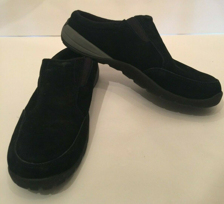 Cabela's Womens Clogs Size 8.5 Black Suede Elastic In Vamp Slip On Comfort Shoe