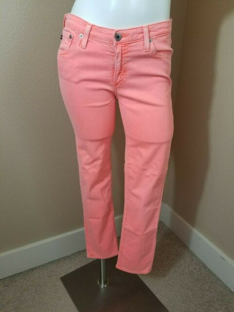 AG Adriano Goldschmied The Stevie Ankle Slim Straight Leg Neon Jeans Pants~28R