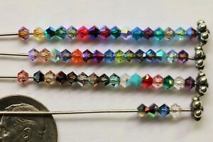 48-X-Swarovski-5301-BICONE-Beads-3mm-AB-2X-Satin-Special-Effects-RARE-COLORS
