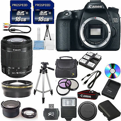 NEW Canon 70D DSLR +CANON 18-55 STM 4 Lens 32GB TOP VALUE CAMERA BUNDLE KIT!