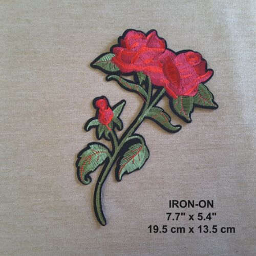 Set of 2 Red Rose Embroidered Iron-on Emblem Flower Patch Blooming Rose Applique