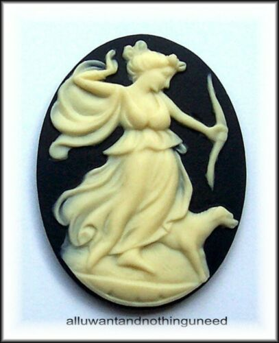 12 unset Mixed IVORY color LADY GODDESS on BLACK 40mm x 30mm craft CAMEOS LOT G