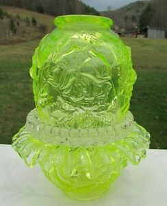 Fenton-for-LG-Wright-Topaz-Vaseline-Embossed-Rose-3-pc-Fairy-Lamp-Gorgeous