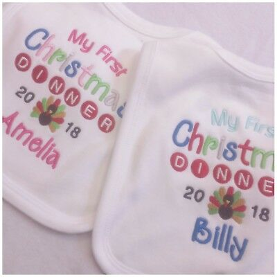 1st Christmas Dinner Design Personalised Baby Bib