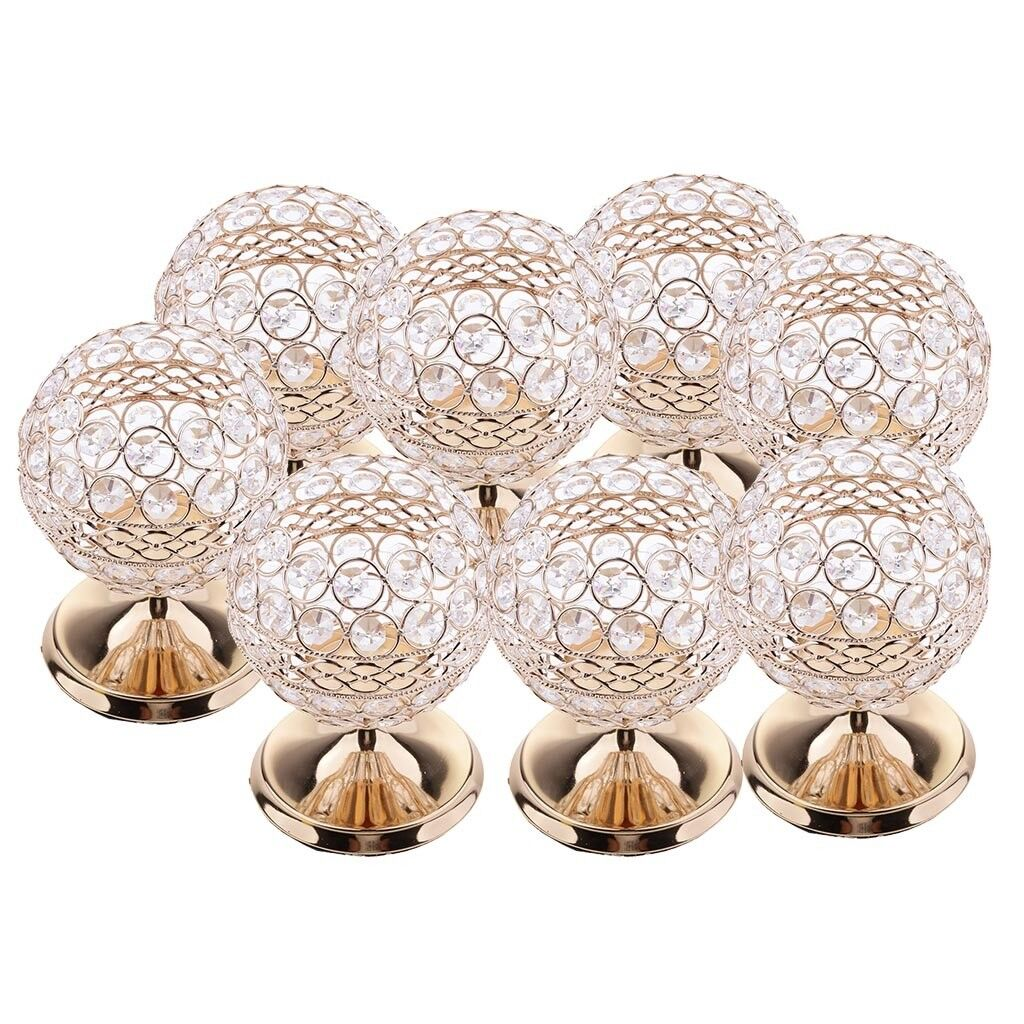 8pcs romantique cristal votive photophore bougie bougeoir décor de table de
