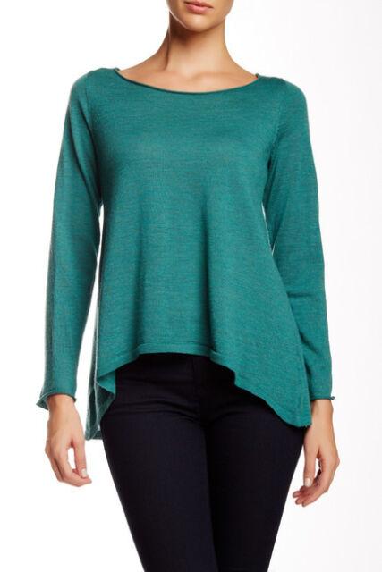 Eileen Fisher Ballet Neck Merino Wool Sweater Absinthe L NWT $198