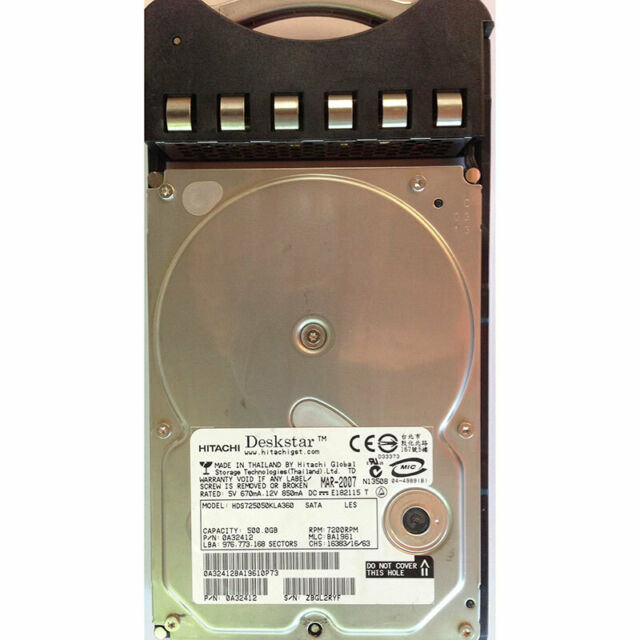 Hitachi 500GB, 7200RPM, SATA, w/ tray for Storvault S500/S550 - 0A32412