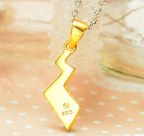 Silver Necklace Gold Plated Amime Pikachu Pokemon Tail Zip Pendant Cosplay Cute
