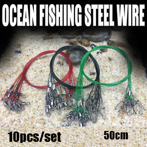 Swivels-Wire-Leader-With-Swivel-Rope-Wire-Fishing-Lead-Line-Safety-Snap