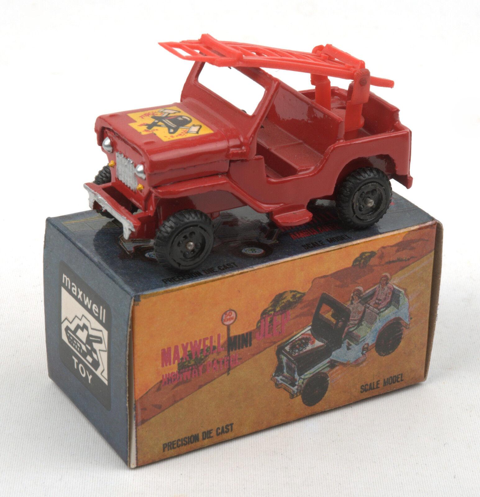Maxwell Toys (India) No.606 Maxwell Mini Fire Service Jeep 1970s  MIB