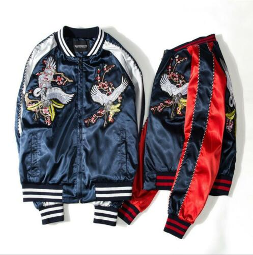 Men/'s Crane Printed Bomber Jacket Japanese Style Baseball Loose short Jackets